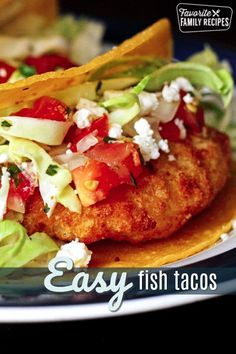 These Easy Fish Tacos are so yummy! A great weeknight meal to make when you don'., These Easy Fish Tacos are so yummy! A great weeknight meal to make when you don't have a whole lot of time to prepare dinner. Beef Recipes For Dinner, Lunch Recipes, Cooking Recipes, Healthy Recipes, Skinny Recipes, Summer Recipes, Cooking Tips, Fish Recipes, Seafood Recipes