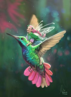 Fairy Hummingbird Love - - Tommy Tinker and the Lost Candy Factory is authored by Teelie Turner and illustrated by Aisha Bilal. Beautiful Fantasy Art, Beautiful Fairies, Magical Creatures, Fantasy Creatures, Fairy Pictures, Fantasy Kunst, Fairy Art, Fantasy Artwork, Faeries