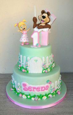 Baby Birthday Cakes, Bear Birthday, Girl Birthday, Masha Cake, Bolo Cake, Masha And The Bear, Baby Girl Photography, Rainbow Cupcakes, Cake Business