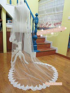 Alencon Lace Mantilla Wedding Bridal Veil , Cathedral Length, Ivory. $139.00, via Etsy.  long veil!