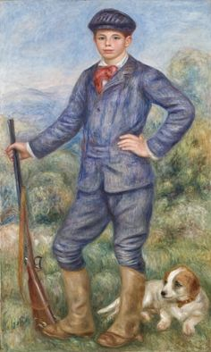 Jean as a Huntsman  Pierre-Auguste Renoir (France, Limoges, 1841-1919)  France, 1910  Paintings  Oil on canvas  68 x 35 in. (172.72 x 88.9 cm); Framed: 80 3/4 x 54 3/4 x 4 in. (205.1 x 139.1 x 10.16 cm)  Gift through the Generosity of the Late Mr. Jean Renoir and Madame Dido Renoir (M.79.40)