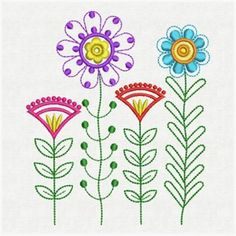 Funky Flowers embroidery design