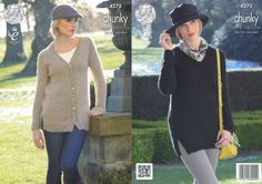 King Cole Magnum Chunky Knitting Pattern - V Neck Cardigan & Sweater (4275) - Mill Outlets