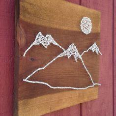 Mountain Range String Art Moon Art Rustic by CrookedTreeTraders