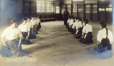 Okayama 1935-Japanese school girls practicing naginata (薙刀). Naginata is a pole weapon traditionally used by members of the samurai class.