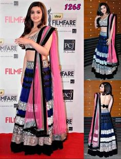 The embroidery on the blouse and Lehenga gives a very young feel to the piece, and the sheer material on the Lehenga and the dupatta which is totally in fashion right now makes it look even more stunning and classy.