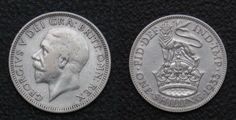 1933 one shilling (12 pence), pre-decimal British coin.