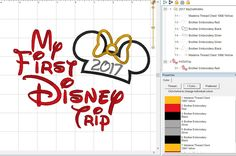 """Minnie or Mickey Mouse 2017 Disney """"My First Disney Trip 2017"""" Applique Digital Design Pattern - INSTANT DOWNLOAD 4x4, 5x7 and 6x10 Sizes by LauraBethDesignsLLC on Etsy"""