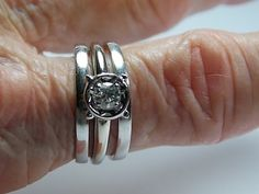 Diamond Bridal Ring Set .33Cts Solitaire and by estatejewelryshop