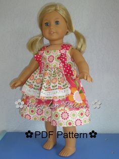 18 inch doll  clothes pattern Apron Knot Dress Boutique Sewing Pattern  18 inch dolls PDF Pattern Patron email delivery. $5.50, via Etsy.