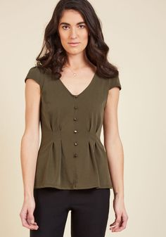 cf674f0f Authentically Alluring Top Button-Up Top in Olive, #ModCloth Olive Green  Top,
