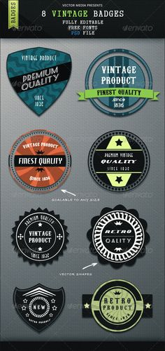 8 Vintage Badges  #GraphicRiver        8