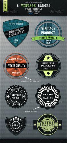 8 Vintage Badges #photoshop #psd #vintage #retro • Available here → https://graphicriver.net/item/8-vintage-badges/3225856?ref=pxcr