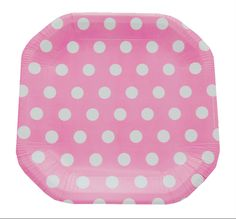 Prato de papel poá rosa / pratinhos para festa poá rosa.