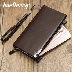 Men leather wallet with strap high quality zipper wallets men famous brand long purse male clutch casual style long money bag