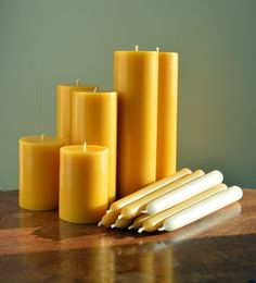 Guaranteed pure beeswax candles made by hand in Dorset UK by Gold&Black using fine quality beeswax and natural wicks. Free from additives such as soy, paraffin and plant wax. Yellow Candles, Gold Candles, Beeswax Candles, Scented Candles, Pillar Candles, Expensive Candles, Special Massage, Candle Maker, Candlemaking