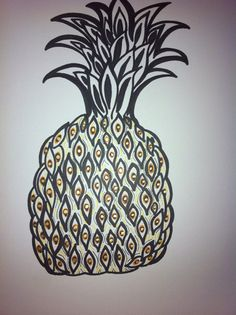 Pineapple Art: Hand drawn original by DainArt on Etsy, $7.00  Pineapple art, hand drawn pineapple, pineapple decor, beach house decor, island decoration, kitchen decor