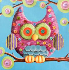 Original Owl painting for children's room by rebeccablake2 on Etsy, $60.00