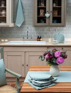 "Duck egg blue kitchen idea. Duck egg blue polka dot kitchen textiles. MyKitchenAccessories' Guide, ""What Colours Go With Duck Egg Blue?"" #DuckEggBlueKitchen #MyKitchenAccessories"