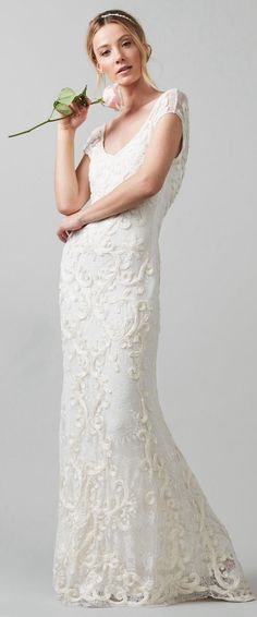 $145.19-Vintage Sheath V-Neck Lace Wedding Dress With Cap-Sleeves. http://www.ucenterdress.com/sheath-v-neck-cap-sleeve-lace-wedding-dress-with-embroidery-pMK_702753.html.  Free Custom-made & Free Shipping! Shop lace wedding dress, strapless wedding dress, backless wedding dress, with sleeves, mermaid wedding dress, plus size wedding dress, We have great 2016 best Wedding Dresses on sale at #UcenterDress.com today!