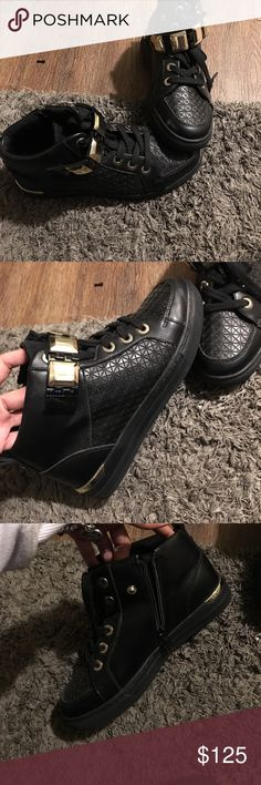 Shoes from Aldo Brand new worn once inside the house,, these are amazing quality very nice were expensive and you cannot buy this style anymore I will take offers but no low balls please if. Your familiar with Aldo you k ow the quality is amazing but very expensive this price is really a steal these are amazing I bought two pairs one for myself one for my daughter my daughter does not like the high top so literally have been sitting in closet so sorry about the dust Aldo Shoes Sneakers