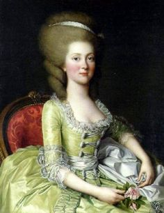 18th century portrait of an aristocratic lady wearing a beautiful spring green silk gown. This is particularly interesting because of the large buttons and looped cord or ribbon on the front bodice. One rarely sees buttons on an 18th century ladies bodice unless they are very small covered silk which was used sometimes for front bodice closures in the late 18th century.