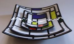 Mondrian style fused glass plates