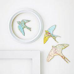 Set Of Three Flying Birds