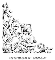 c8d5966fc Imágenes similares, fotos y vectores de stock sobre Vintage Baroque Corner  Scroll Ornament Engraving; 504923473