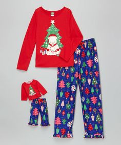Loving this Red & Blue Bear Christmas Tree Pajama Set & Doll Outfit - Girls on #zulily! #zulilyfinds