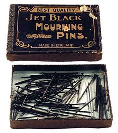 Victorian Jet black mourning pins, made especially to be all black.