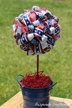 Make a Ribbon Topiary for a Fourth of July craft