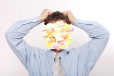 Post it Businessman stock photo