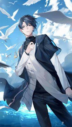 Cool Anime Guys, Handsome Anime Guys, Hot Anime Boy, Anime Boys, Anime Angel, Anime Demon, Anime Blue Hair, Fille Anime Cool, Anime People