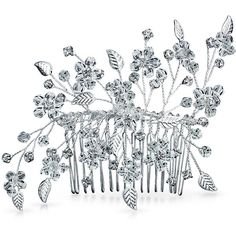 Bling Jewelry Fairy Flower Comb ($25) ❤ liked on Polyvore featuring jewelry, clear, hair-side-combs, tiara, leaf brooch, flower jewellery, leaves jewelry, leaf jewelry and bridal jewellery