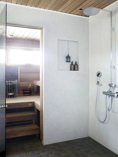 Laundry Room Bathroom, Bathroom Toilets, Modern Saunas, Warehouse Living, Sauna Design, Master Bath Shower, Spa Rooms, Bathroom Inspiration, My Dream Home