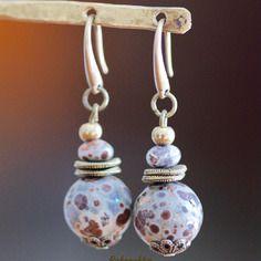 Boucles d'oreilles bronze jaspe dalmatien