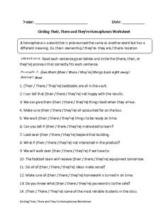 Printables Beasley And Homophones englishlinx com homophones worksheets 2nd grade poetry circling theirthere and theyre worksheet