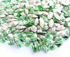 Kristall Cabochons, Pferdeauge, silberfarben plattiert, hellgrün, 17x32mm