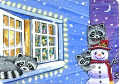 Original Raccoon Babies Winter Snow Christmas Tree Snowman Fun ACEO Painting | eBay - Sold for $220.50 = crystalmelsell732
