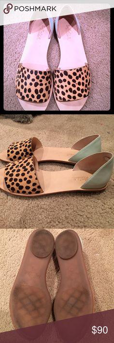 Loeffler Randall slip on flats. Size 7.5. Loeffler Randall leopard and mint green slip on flats. Size 7.5. Only worn once! In pristine condition! Loeffler Randall Shoes Flats & Loafers