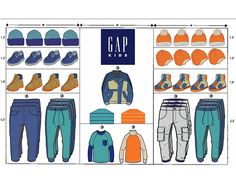 Objective: To create a planogram for Gap Kids, utilizing apparel and accessory items.Utilized elements and principles of design to place product on shelves or rods.I created a color story and collection for Gap kids utilizing apparel and accessory item& Fashion Store Display, Clothing Store Displays, Clothing Store Design, Fashion Stores, Visual Merchandising Fashion, Retail Merchandising, Merchandising Ideas, Retail Store Design, Retail Stores