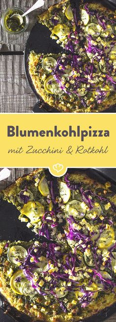 Cauliflower pizza with pesto, zucchini and red cabbage - Pizza - Pizza Recipes No Carb Recipes, Pizza Recipes, Veggie Recipes, Healthy Recipes, Healthy Vegetables, Fresh Vegetables, Sports Food, Cauliflower Pizza, Low Carb Pizza