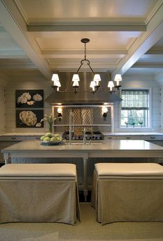 Greige is the new black... Pursley Dixon Architecture - kitchens - hardwood floors, dark hardwood floors, sisal rug, sisal area rug, greige cabinets, greige cabinetry,...