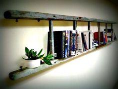 vintage ladder bookshelf by Mardi McClellan Ladder Bookshelf, Wall Bookshelves, Rustic Bookshelf, Bookcases, Dvd Regal, Vintage Ladder, Rustic Ladder, Vintage Linen, Unique Vintage