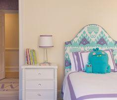 Kerry Hanson Design   Turquoise & Violet Ikat Headboard   Bedding