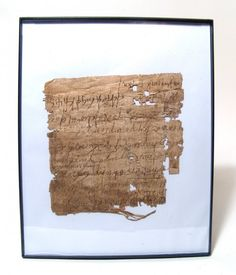 7/19/2015: An Egyptian framed papyrus fragment with beautiful cursive Greek script, c. 5th - 7th Century AD, with 10 lines elegant visible, the opposite side with 10 lines of what appears to be equations. A most interesting and beautiful document from the past. Papyrus fragment measures roughly 5 ¾ in x 5 ¾ in (14.6 x 14.6 cm). Frame measures 10 1/8 in x 8 1/8 in (25.7 x 20.6 cm). Ex Hamdy Sakr collection, London; previously in the private collection of Alex Anckonie III, acquired during his…