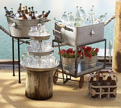 Galvanized Metal Rolling Wagon Party Bucket To Pottery Barn - Tabletop - Bar Accessories Galvanized Decor, Galvanized Metal, Galvanized Buckets, Metal Buckets, Diy Außenbar, Easy Diy, Bbq Drinks, Beverages, Cocktails