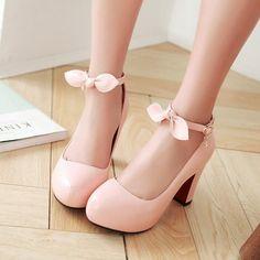 Lolita sweet bowknot heels shoes