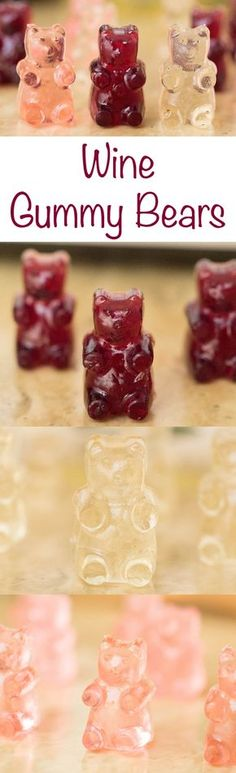 Easy recipe to make red, white, and rose wine gummy bears.